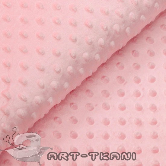 Плюш (велюр) Minky dot (минки) розовый