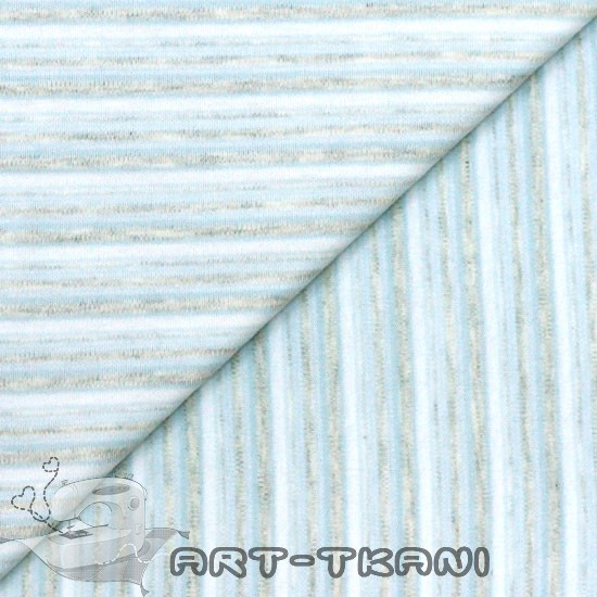 Лоскут трикотажной ткани Нежно-голубая полоска