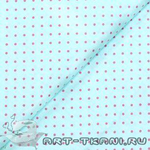 """Ткань """"Розовые точки на голубом """" 0,5 метра- хлопок 100%"""