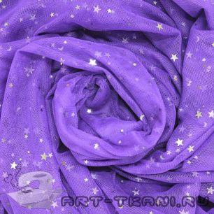 Мягкий фатин Пастель - Фиолетовый со звездочками