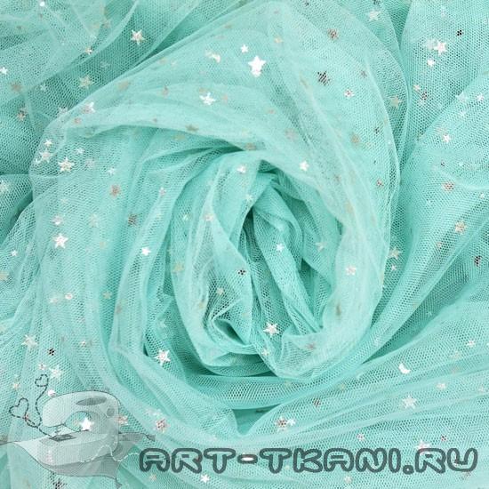 Мягкий фатин Пастель - Мятный со звездочками