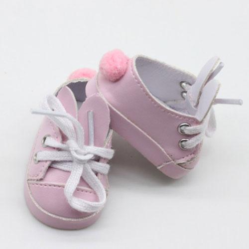 Обувь для кукол - туфли розовые с ушками и помпоном