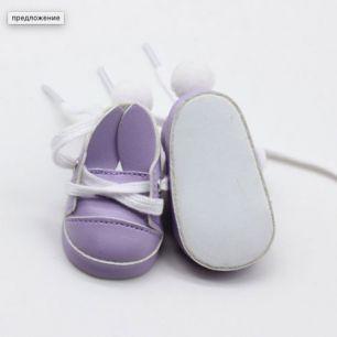 Обувь для кукол - туфли сиреневые с ушками и помпоном