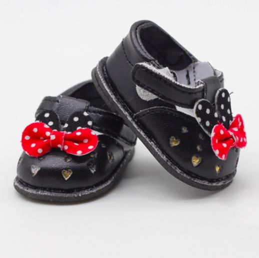 Обувь для кукол - сандалики черные с бантиком